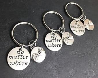 3 BFF Keychain Gift Best Friends Set of 3 No Matter Where Keychain 3 Best Friends 3 BFF Keychain Customized Gifts Monogram Keychain Gift