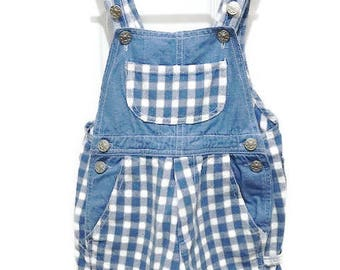 White and Blue Overall Vintage Plaid Overall for Unisex Babies Size 12 Months by Action Kids