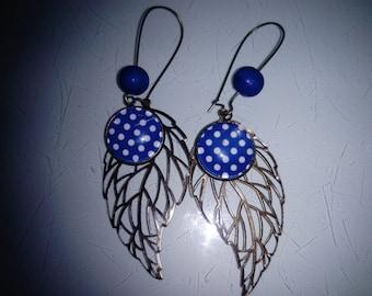 earring cabochon stylized blue polka dot pattern