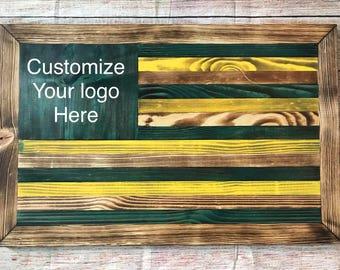 Oregon Ducks wooden flag - ready to hang - customizable