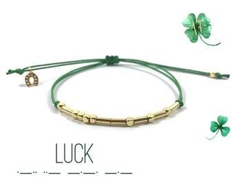 Luck morse code bracelet Luck bracelet   St Patrick's Day Gift horshoe  charm luck of the Irish Green  Luck   bracelet