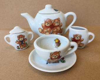 Sweet Little Vintage Child's Tea Set with Teddy Bears by Lucy Rigg