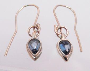 14KY custom design bezel set London blue topaz earrings on handmade ear wires