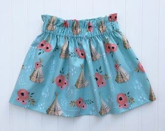 Teepee Ruffle Skirt - girls skirt, toddler skirt, party skirt, teepee skirt, blue skirt, cotton skirt, floral skirt
