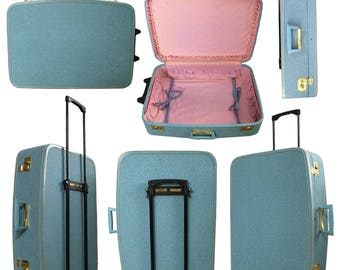 Vintage 1950s Blue Towncraft Suitcase — Retrofitted To Roll!