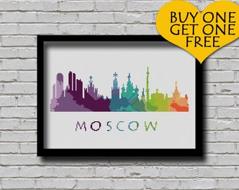Cross Stitch Pattern Moscow Russia Eastern Europe City Silhouette Watercolor Effect Decor Embroidery Rainbow Color Skyline xstitch