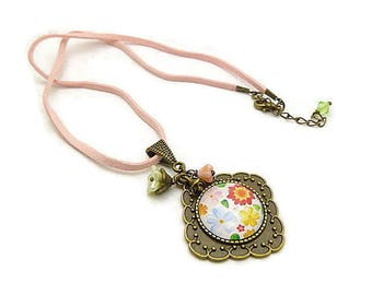 Pink picture flowers and cord necklace