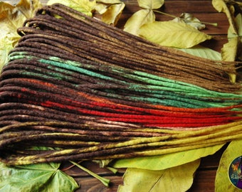 "Ready to shipping wool DE dreads ""Autumn leaves"" dark brown green yellow red orange double ended dreads full set merino felt by Alice Dreads"