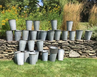 Vintage Sap Buckets Sap Buckets Vermont Galvanized Sap Buckets Garden Planter Galvanized Bucket Maple Sap Bucket Farmhouse Wedding Display