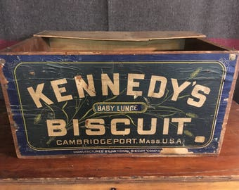 Kennedy Biscuit Box Vintage Wooden Crate Vintage Crate Vintage Wood Crate Kennedy Biscuit Crate Wooden Biscuit Crate Vintage Biscuit Crate