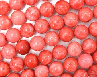 """10mm pink jade round beads 15"""" strand 38329"""