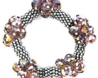 "Crystal silver plated daisy stretch bracelet 7"" purple 11837"