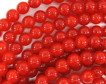 """10mm glass round beads 14"""" strand red orange 32516"""