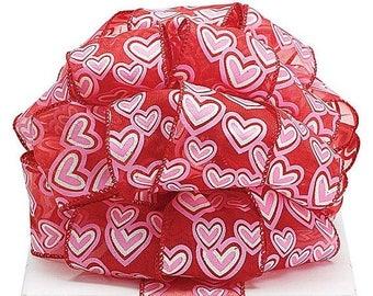 sale 25 x 5 yards pink heart valentine ribbon heart ribbon wired valentine - Valentine Ribbon