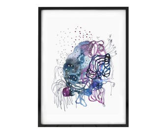 "Abstract watercolor original, gallery wall decor, Abstract Painting, fine art modern art, wall art abstract ORIGINAL painting  5 x 7"""