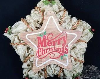 Burlap Wreath, Christmas wreath, Star wreath, Country wreath, burlap star, burlap decor, front door wreath, holiday wreath, rustic Christmas