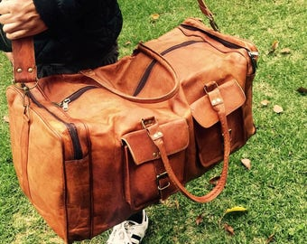 Leather Travel Bag, Large leather overnight bag, Leather duffel bag, Leather Luggage, Leather Bag
