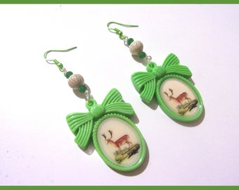Earrings green medallion with deer