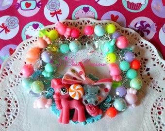 Pony Candy Chunky Beaded Bracelet with Neon Beads and Silver Chain: Fairy Kei, Sweet Lolita, Hime Gyaru, Kawaii, Pastel