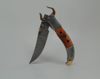Longhorn Damascus Liner lock folding knife pocket knife texas EDC prepper survival brass short blade folder unique pliant damas Gozen Knives