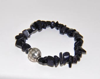 Elastic with blue goldstone chips and 925 Silver pearl bracelet