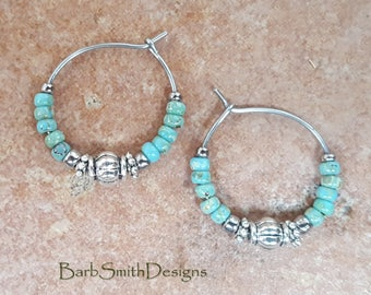 "Beaded Turquoise and Silver Stainless Steel Hoop Earrings, Small 3/4"" Diameter"