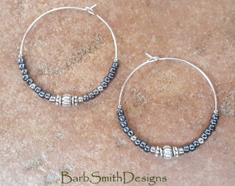 "Beaded Metallic Hematite and Silver Hoop Earrings, Large 1 3/8"" Diameter in Metallic Hematite"