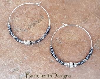 """Beaded Metallic Hematite and Silver Hoop Earrings, Large 1 3/8"""" Diameter in Metallic Hematite"""