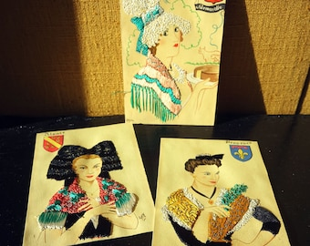 Postcard laces and fabrics - Costume traditional regions of France - sewn & colorful vintage map - original gift