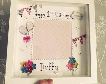 personalised hand drawn birthday photo box frame keepsake gift
