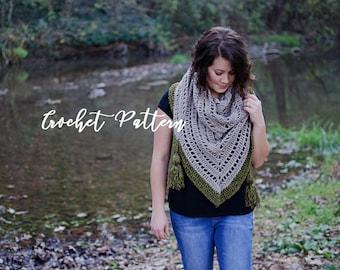 CROCHET PATTERN | The Serein Shawl | Triangle Scarf | Crochet Wrap | Fringe