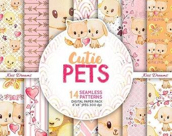 SALE 50% OFF Cat Dog Bird Pet Digital Paper Pack, Watercolor Paper, Cute, Cartoon, Butterfly, Wreath, Heart, Invitation, Scrapbook, Blog, Pl