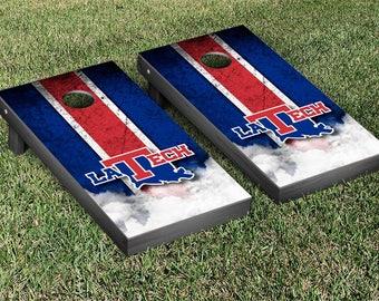 Louisiana Tech Bulldogs Regulation Cornhole Game Set Stripe Designs