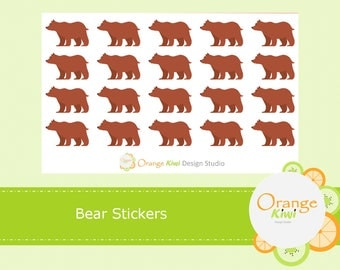 Bear Stickers, Bear Planner Stickers, Animal Stickers, Forest Animals