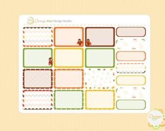 Thanksgiving Half Box Planner Stickers, Turkey Planner Stickers, Erin Condren Life Planner, Happy Planner, Filofax