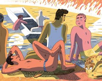 Boys by the Lake A4/A3 Giclee Print