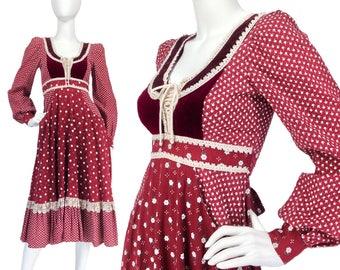 70s Gunne Sax Dress XS, Boho Dress, Prairie Dress, 70s Dress, Ruffle Hem Dress, Cotton Dress, Festival Dress, Midi Dress, SIZE XS 0 2