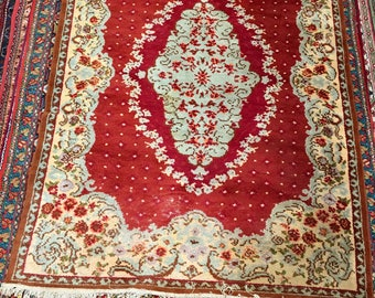 Old style carpet rug 100%wool floral pattern rug red blue and brown color warm vintage rug big rug retro style suitable for home&restaurant.