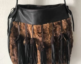 Mink fur hand made shoulder bag .