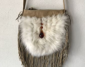 Amazing bag from real polar fox fur&leather with fashionable leather fringe new collection designer handmade women's beige bag size-small.