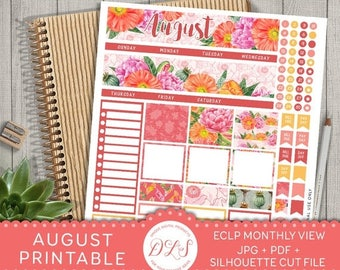 40% OFF August Monthly Kit, August Monthly Stickers, August Planner Stickers, Printable Monthly Kit, for use with Erin Condren LifePlanner™,