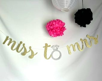 Miss to Mrs Banner // Bridal Shower Banner // Party Decor // Bachelorette Party // wedding banner // Engagement Party Decor // wedding decor
