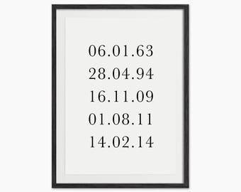 Personalised Memorable Dates Print