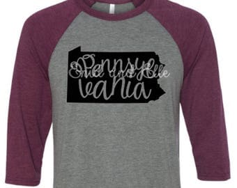 Pennsylvania t-shirt - Pennsylvania state shirt - Pennsylvania home t-shirt - Pennsylvania baseball shirt - Pennsylvania raglan shirt