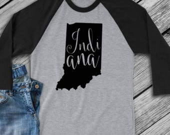Indiana t-shirt - Indiana state shirt - Indiana home t-shirt - home shirt - Indiana baseball shirt - Indiana raglan shirt - Enid and Elle