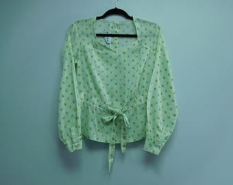 Vintage 1970's Mint Green Long Sleeve Blouse by Bobbie Brooks Size Medium