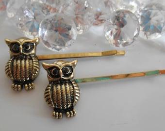 Set of 2 barrettes evening wedding gold OWL