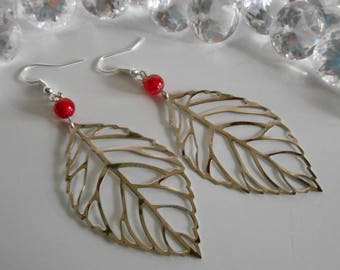 Red cracked beads and silver filigree leaf earrings