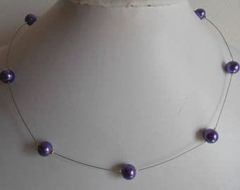 Simple wedding necklace purple beads
