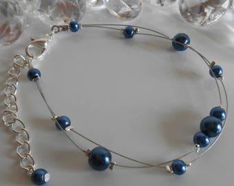 Wedding 2 bracelet dark blue pearl beads strands